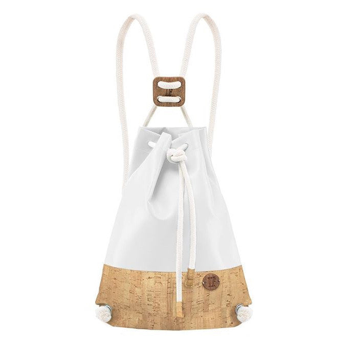 IF Double Backpack White and Cork|Vegan Leather - Italy