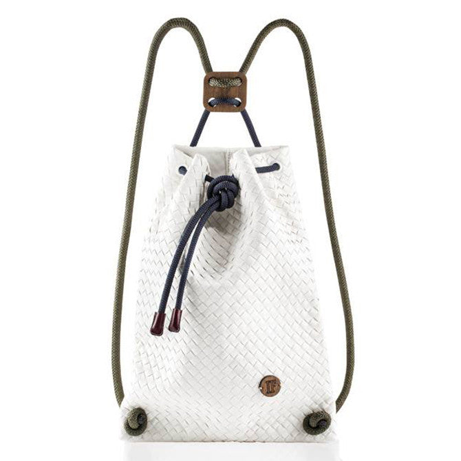 IF Backpack White Woven|Vegan Leather - Italy