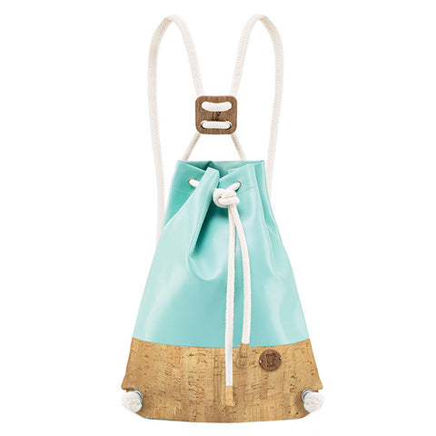 IF Double Backpack Light Aqua and Cork - Italy