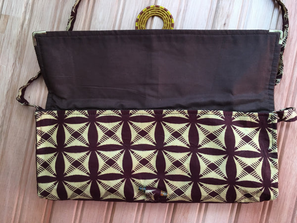Handmade Rwandan Batik Long Clutch w/Shoulder Strap - Brown/Cream