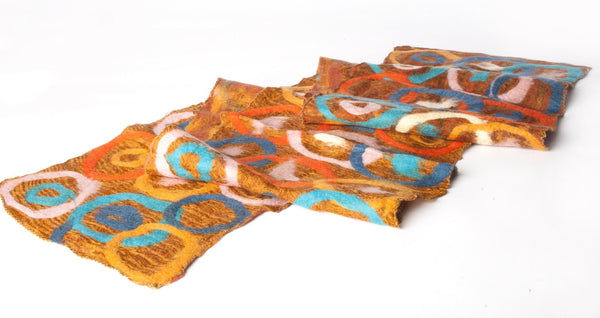 Sunrise Felted Wool Sari Circle Scarf One-of-a-Kind -   - 3