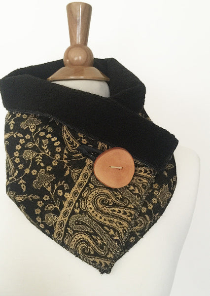 Black Gold Paisley UpCycled Neckwarmer One-of-a-Kind -   - 1