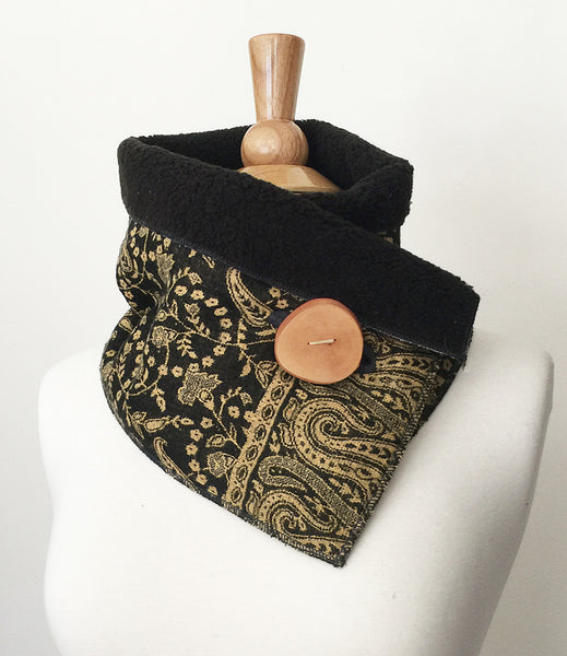 Black Gold Paisley UpCycled Neckwarmer One-of-a-Kind -   - 2