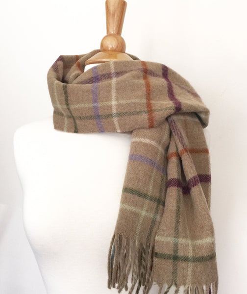 100% Merino Lambswool British Scarf - Camel Litton Windowpane -   - 2