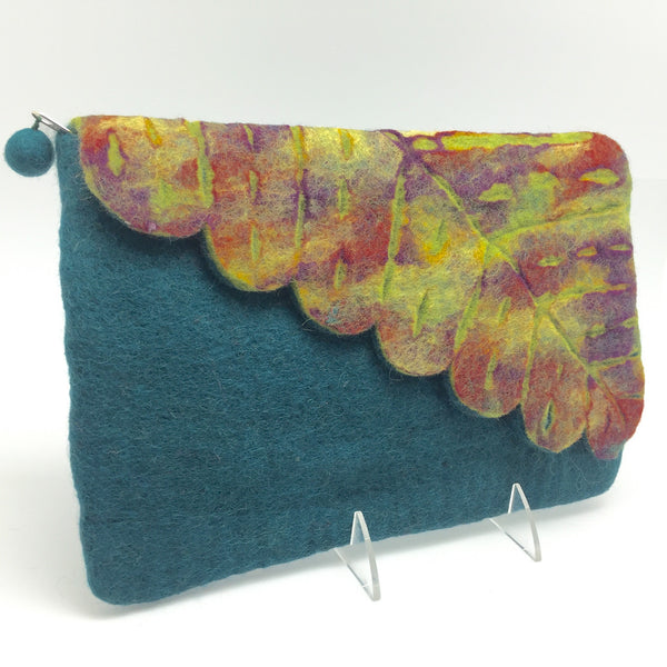 Nuno Felted Wool Leaf Clutch Bag One-Of-A-Kind Handmade -   - 6