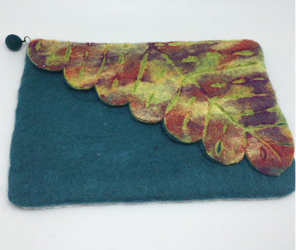 Nuno Felted Wool Leaf Clutch Bag One-Of-A-Kind Handmade -   - 2