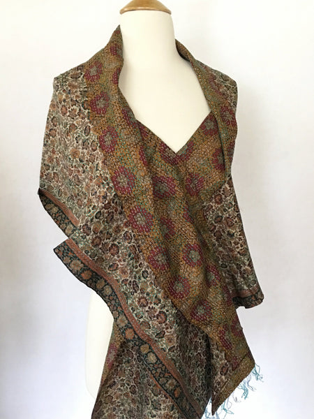 Kantha Silk Reversible Stole-Scarf - Merlot/Teal/Gold