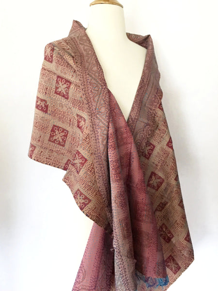Kantha Silk Reversible Stole-Scarf  - Rose/Tan