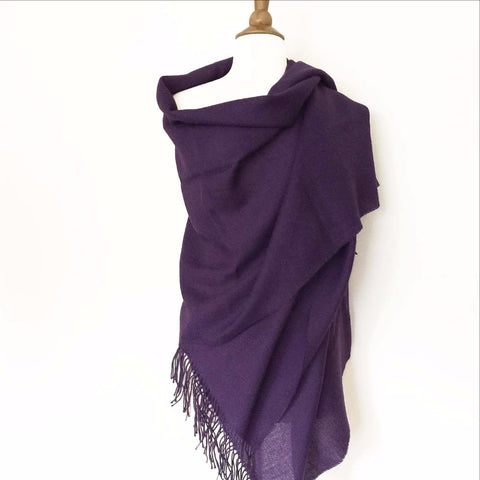 Handmade 100% Alpaca Scarf/Wrap w/Fringe from Peru - Purple Moon -   - 2