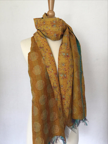 Kantha Silk Reversible Scarf-Stole  - Gold/Red/Turquoise