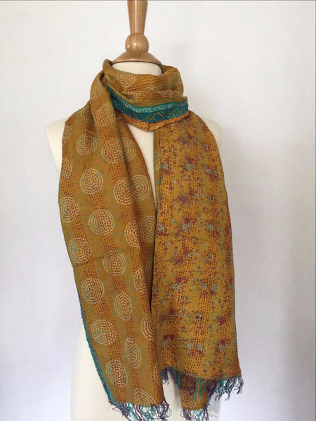 Kantha Silk Reversible Stole-Scarf  - Gold/Red/Turquoise