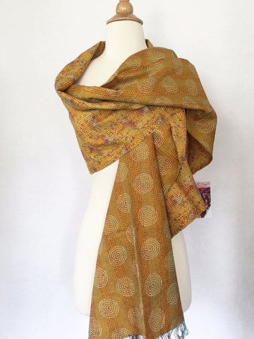 Silk Kantha Stitch Scarf-Stole - Gold/Red/Turquoise - Handmade One-of-a-Kind