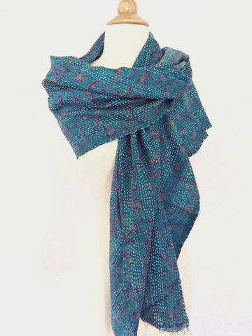 Silk Kantha Stitch Scarf-Stole -  Blue/Purple - Handmade One-of-a-Kind