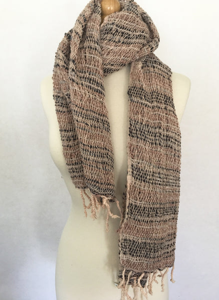Handwoven Open Weave Cotton Scarf - Black/Wheat/Ivory Multicolor