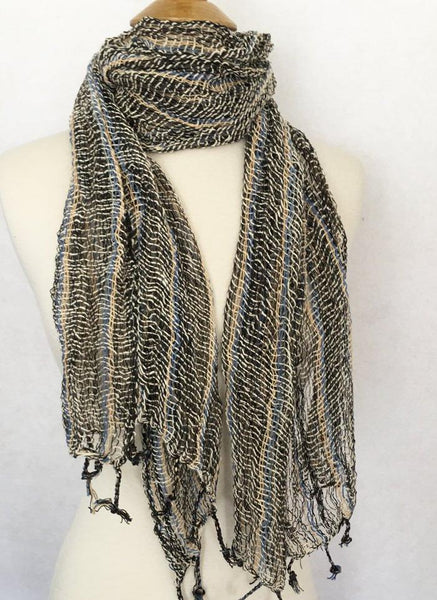 Handwoven Open Weave Cotton Scarf - Multicolor Black/Khaki/Blue