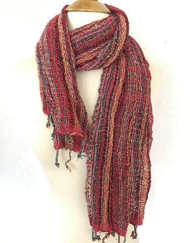 Handwoven Open Weave Cotton Scarf - Multicolor Red