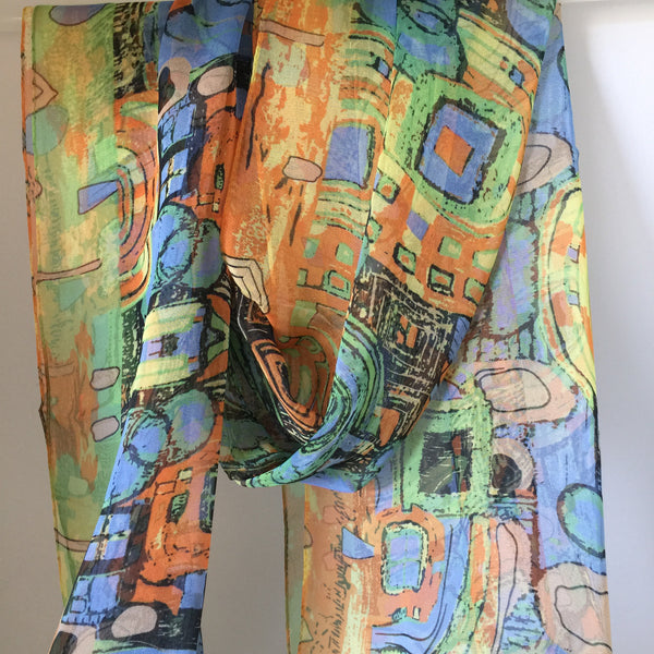 Gustav Klimt Abstract Scarf - Blue/Orange/Green/Gold