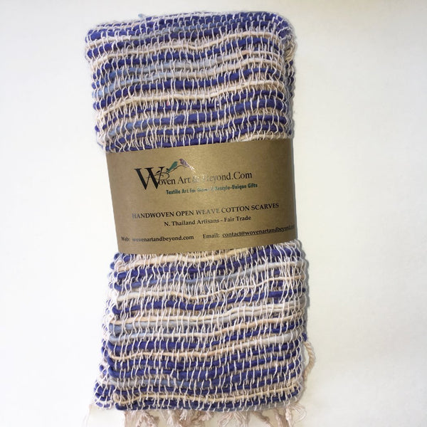 Handwoven Open Weave Cotton Scarf - Blue/Ivory Multi