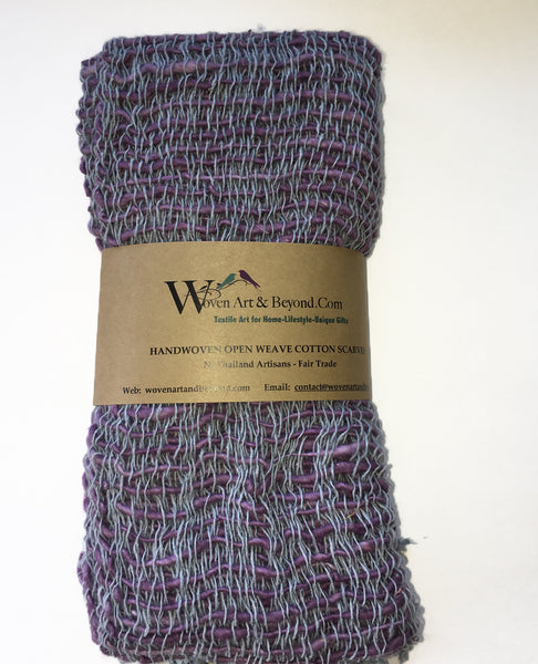 Handwoven Open Weave Cotton Scarf - Grey/Eggplant