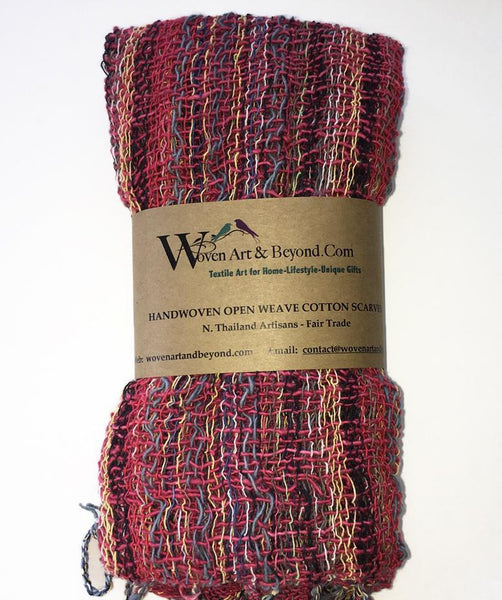 Handwoven Open Weave Cotton Scarf - Sunset Multicolor
