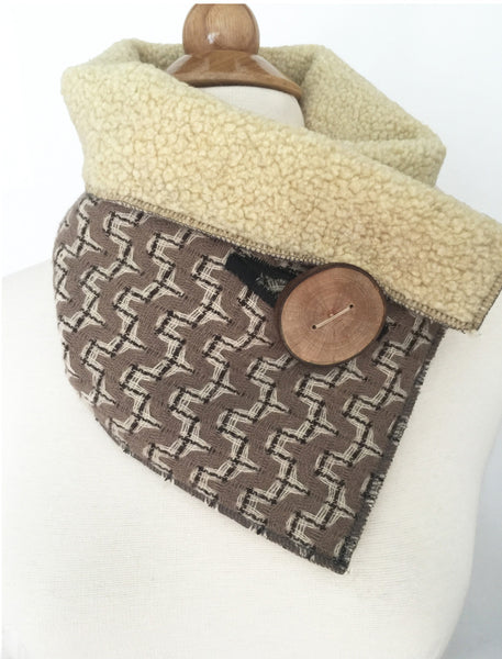 Simply Taupe Upcycled Neckwarmer One-of-a-Kind -   - 1