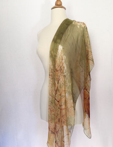 Van Gogh Trees Scarf - Green/Brown/Cream