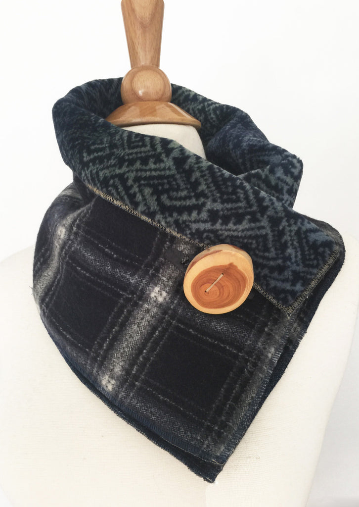 Lumber Jack Blue Plaid UpCycled Neckwarmer One-of-a-Kind -   - 1