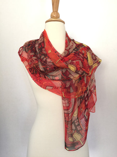 Gustav Klimt Abstract Scarf - Red/Gold/Black/Cream