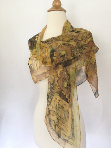Gustav Klimt Abstract Scarf - Brown/Green/Gold