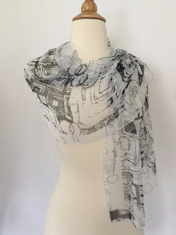 Gustav Klimt Abstract Scarf - Black/White