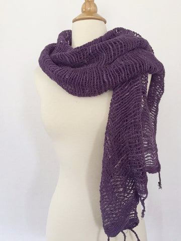 Handwoven Open Weave Cotton Scarf - Mulled Grape