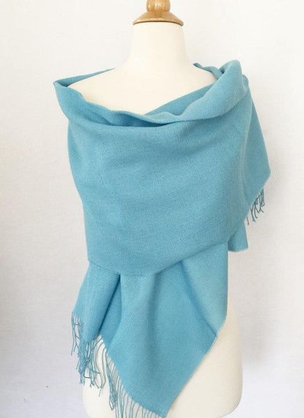 Baby Alpaca Stole/Scarf/Wrap with Fringe from Peru - Placid Blue