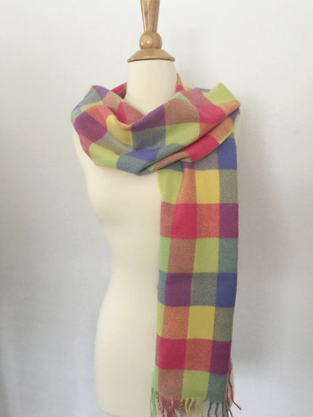 Foxford Lambswool Scarf - Carrigan Bright Plaid - Ireland