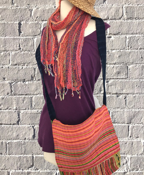 Handwoven Open Weave Cotton Scarf - Multicolor Sunset