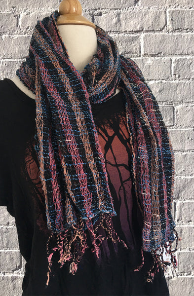 Handwoven Open Weave Cotton Scarf - Multicolor Black/Mauve/Blue
