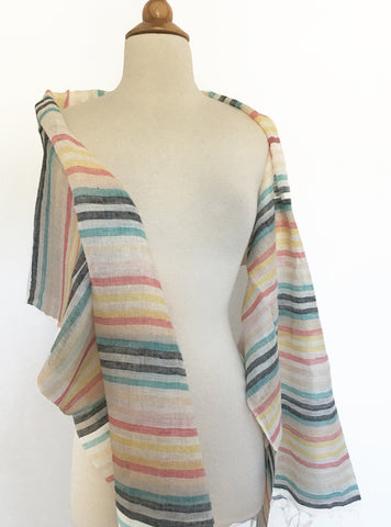 Linen Striped Stole w/Fringe - Multi Lemon