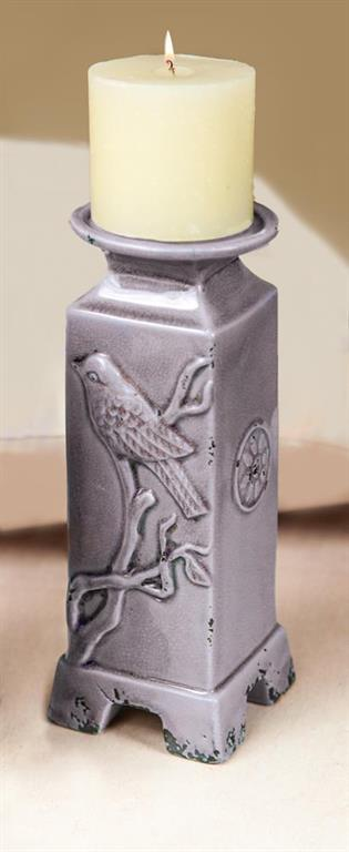 Lilac Ceramic Bird Candle Holders|Set of 2 Large