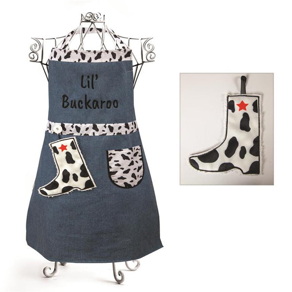 Izzy© Lil' Buckaroo Black and White Child's Apron + Hand Towel Set