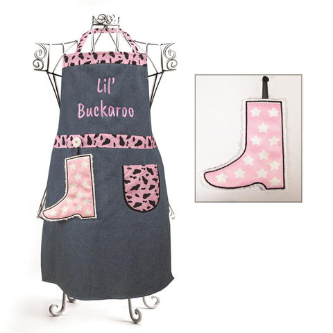 Izzy© Lil' Buckaroo Pink and White Child's Apron + Hand Towel Set