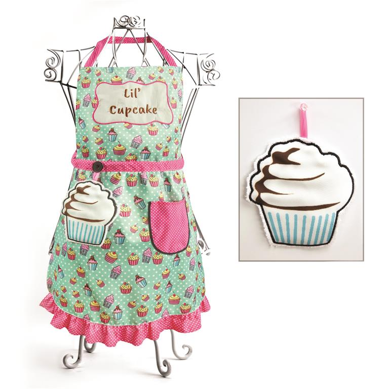 Izzy© Lil' Cupcake Blue Child's Apron + Hand Towel Set
