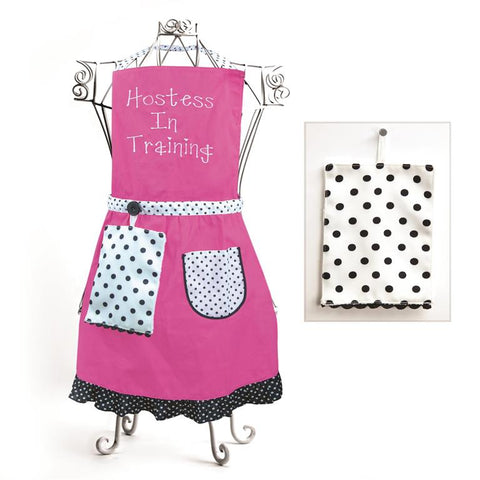 Izzy© Hostess In Training Pink Child's Apron + Hand Towel Set
