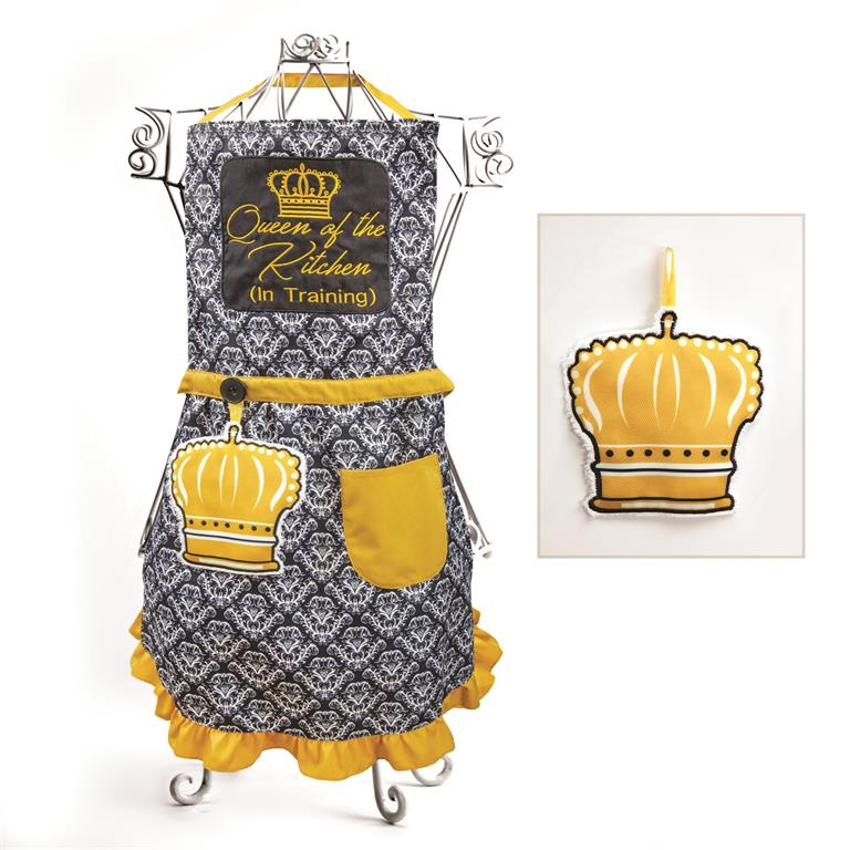 Izzy© Queen In Training Black-Gold Child's Apron + Hand Towel Set
