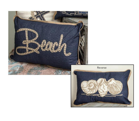 Beach Shells Embroidered Reversible Rectangle Indoor Pillow