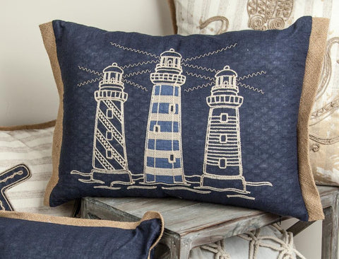 Embroidered Lighthouse Rectangle Indoor Pillow