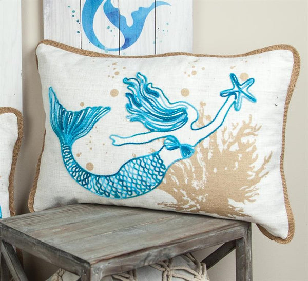 Embroidered Mermaid Rectangle Indoor Pillow