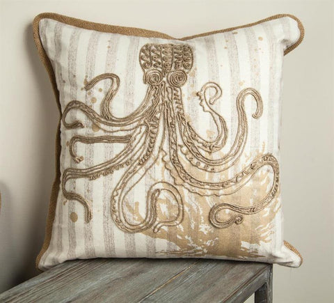 Embroidered Octopus Indoor Pillow