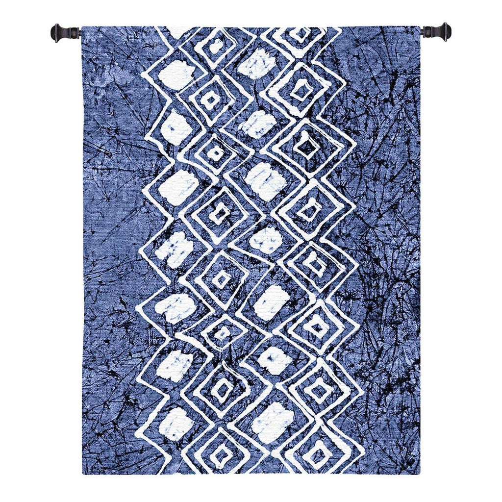 Indigo Primitive Patterns IV Wall Tapestry by Renee Stramel©