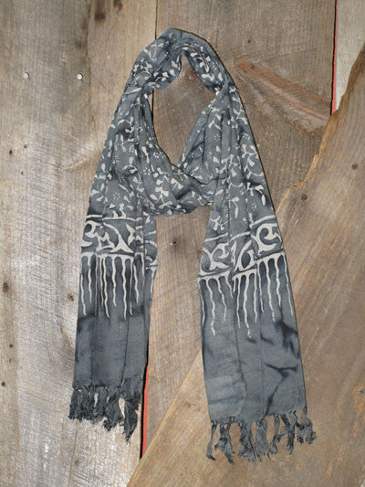 Indonesian Handcrafted Batik Rayon Scarf - Charcoal Grey and Soft White -