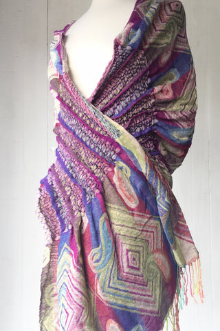 Woven Reversible Ruffled Scarf/Shawl- Juicy Fruit
