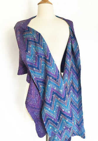Kantha Silk Reversible Scarf-Stole - Purple Blue Zig Zag